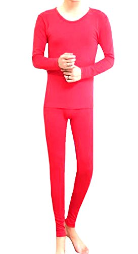 Comaba Men Warm Cotton Compression Breathable Thermal Union Suit Red OS
