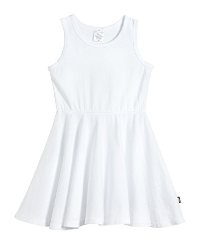 City Threads Little Girls' Cotton Party Twirly Tank Dress - Sensitive Skin and Sensory Friendly - School Summer, White, Size 5