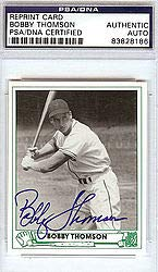 Bobby Thomson Signed 1947 Play Ball Reprint Trading Card #43 New York Giants - PSA/DNA Authentication - Autographed MLB Baseball Cards from Sports Collectibles Online