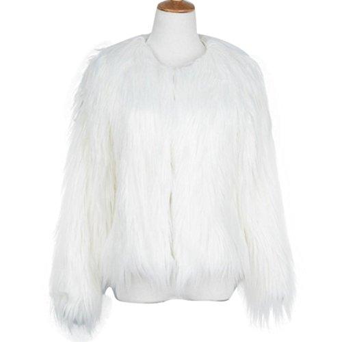 zorro chaquetón invierno para Saihui sintética blanco de Chaqueta el cálida mujer de piel para 7AqABXz