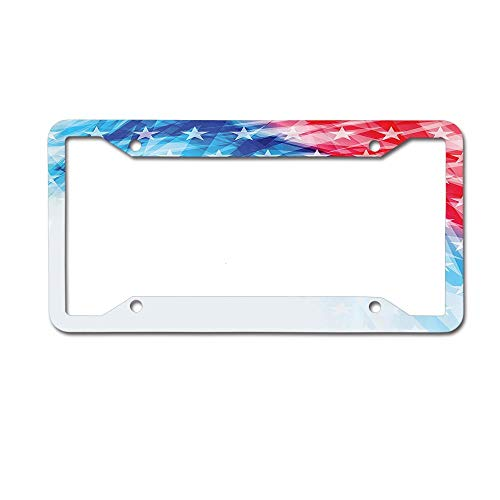 (keyishangmaoLu United States of America National Flag Sketch with State Stars White Stripe Theme License Plate Frame Aluminum License Plate Frame Car Tag Cover 4 Holes and Screws)