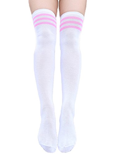 YABINA 20 Colors 1 Pair Women Triple Stripe Over the Knee High Socks (UP/White Pink Stripe) (Cheap Cowgirl Boots Under 20)