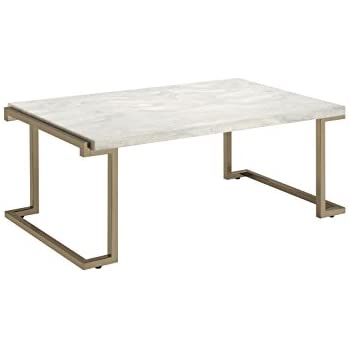 ACME Furniture Acme 82870 Boice II Coffee Table, Faux Marble & Champagne, One Size