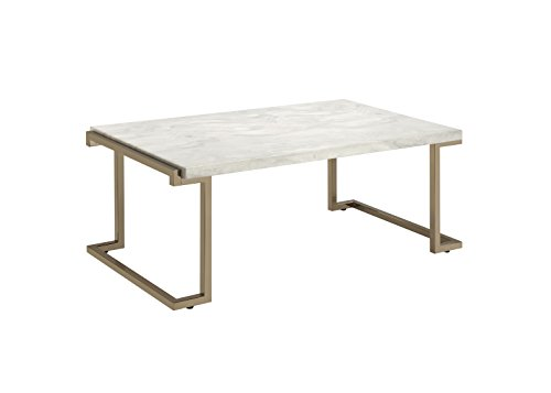 ACME Furniture coffee tables, One Size, Faux Marble & Champagne (Champagne Furniture)