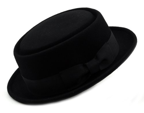 Mens Crushable Wool Felt Porkpie Hat w/Feather HE09 Bk-S/M (Bowler Hat)