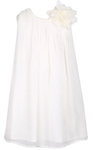 Swirl Lace Mini Dress - Little Girls Adorable Chiffon Mesh Flower Flowers Girls Dresses Ivory Size 6