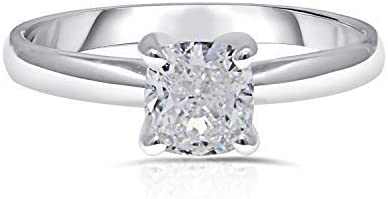 UNITED WORLD DIAMONDS 1.00 Carat Lab Created Cushion Cut Classic Solitaire Diamond Engagement Wedding Ring for Women with 10kt White Gold (Color H+/ Clarity SI2+ / SIZE 7 )