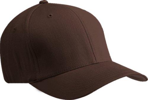 Premium Original Flexfit V-Flexfit Cotton Twill Fitted Hat 5001 2-Pack (S-M, Brown)