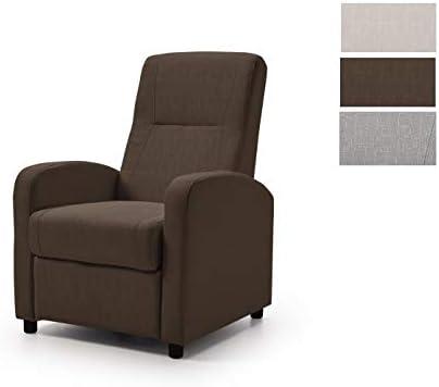 sillón Relax MANOLA, Sistema reclinable Manual, cómodo y Elegante, marrón