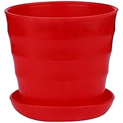 Plastic Plants Nursery Pot, Iuhan Plastic Planters, Indoor Flower Pot, Plant Pot, Mini Flower Seedlings Nursery Pot, Flower Pot with Pallet Home Office Decor (red)