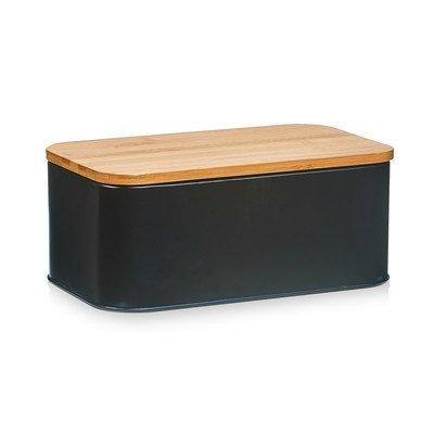 Zeller Present 25376Stabhngematte Brotkasten mit Deckel aus Bambus/Metall taupe matt