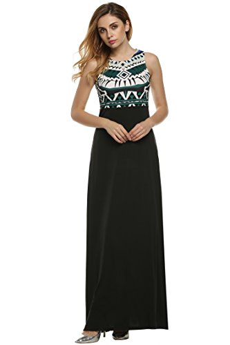 ANGVNS Women Casual Maxi Dress Summer Bohemian Floral Print Full Length Tank Long Dress Green S