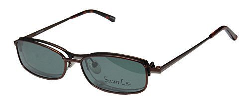 SmartClip 276 Mens/Womens Designer Half-rim Casual With Polarized Clip-on Lenses Sunglass Lens Clip-Ons Eyeglasses/Eye Glasses (49-16-137, Matte Brown/Gunmetal) by SmartClip