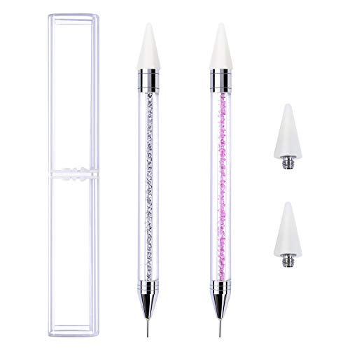Elcoho 2 Pack Rhinestone Picker Dotting Pen with Storage Box and 2 Pieces Replacement Pen Head Acrylic Handle Nail Art DIY Decoration ()