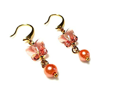 Pink Swarovski Crystal Butterfly Gold Earrings and Glass Pearls, Hypoallergenic or Nickel Free Ear Wires for Sensitive Ears, Bridal Bridesmaids Wedding Jewelry ()