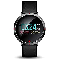 Opta S2S-SB-115 Leather Vivo-OFit Band HD Color Display Bluetooth Fitness Smartwatch Blood Pressure Heart Rate Sleep Monitor Smart Band Compatible with Android/iOS Smart Phones, Medium (Black)