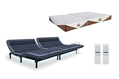 "DynastyMattress New 2019 Williamsburg Plus Adjustable Bed Massage, Head Tilt, Underbed Light, Dual USB Port by Leggett & Platt with 10"" CoolBreeze Gel Memory Foam Mattress"