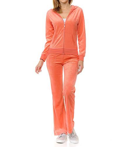 Womens Lightweight Hoodie & Sweatpants Velour Suit 2 Piece Loungewear Set (S-3XL) Large Salmon Pink