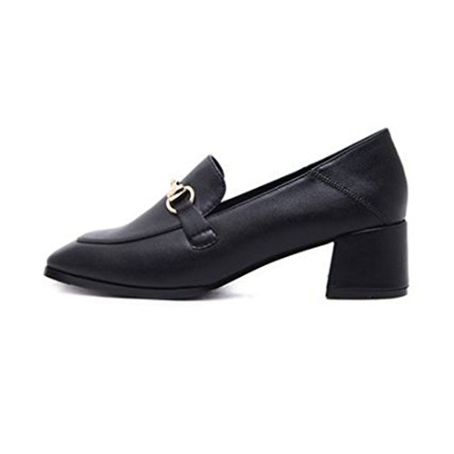 GIY Womens Classic Penny Loafers Pumps Buckle Slip-On Square Toe Block Heel Dress Loafer Oxford Pump Black twq36bWWo