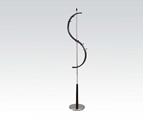 "Brand New Greg 14""x14""x75""H Chrome Plated Brown Finish Coat Rack"