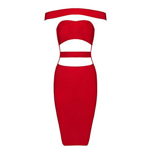 HLBCBG rayón de la mujer vendaje Bodycon vestido de cóctel vestido de fiesta 2269 Rosso