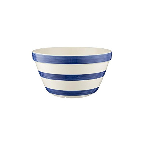 (Mason Cash Stripes All Purpose Bowl; Hand Painted; Made from Chip Resistant Earthenware; S30, 6-3/4-Inches by 4-Inches; White with Navy Stripes)