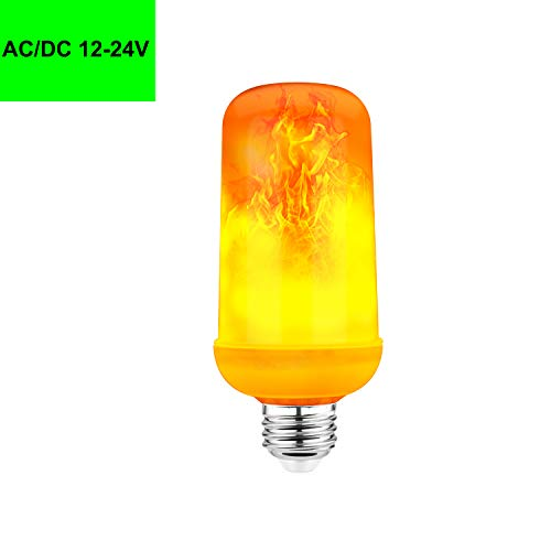 AC/DC 12-24V LED Flame Effect Bulb Low Voltage Fire Flicker Lights Bulbs E26 Screw Base Flame Lights for Outdoor Christmas Decoration,Home,Bar,Party,Hotel Décor 1-Pack