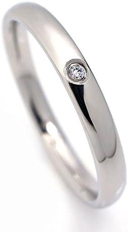 シルバー ワンポイント クリスタル リング サージカルステンレス 3mm 甲丸 指輪 シンプル レディース マリッジリング (11.5号)