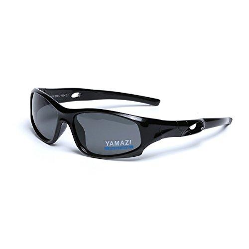 YAMAZI Children Sports Polarized Sunglasses For Kids Boys Girls Rubber Flexible Frame Sunglasses UV Protection (Bright Black, - Sunglasses Kids Uv