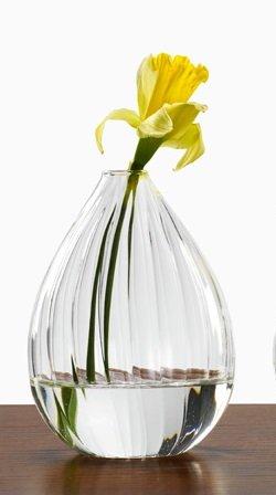 (Ribbed Line Glass Teardrop Bud Vase, 5 1/2in H, Each)