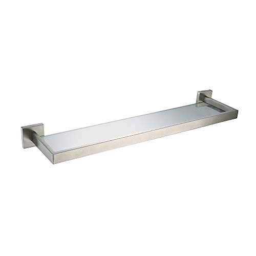 TNOMS 19.7 Inch Bathroom Lavatory Glass Shelf Wall Mount with Screws,Heavy Duty SUS304 Stainless Steel Storage Shelves,HRQ7ZWJ-BR-50CM