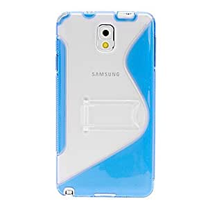 Transparent Back Pattern Soft Case Cover with Stand for Samsung Galaxy Note 3 --- COLOR:Blue