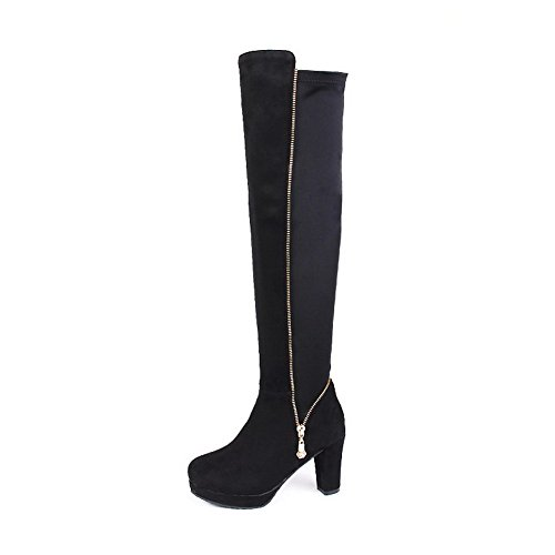Boots Black Suede Heels Zipper Solid Imitated Toe Round Allhqfashion Closed Women's High qyA7UyRP