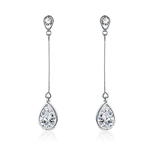 SBLING Platinum-Plated Cubic Zirconia Drop Earrings(3.9 cttw; Teardrop) Cubic Zirconia Platinum Earrings