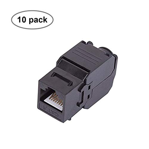 CAT6 RJ45 Keystone Jack [UL Listed] Unshielded Tool-less Keystone Punch-Down Stand and 180-Degree with Color Coded Wiring Schema for Wall Plate Outlet Panel (Black, 10 Pack)