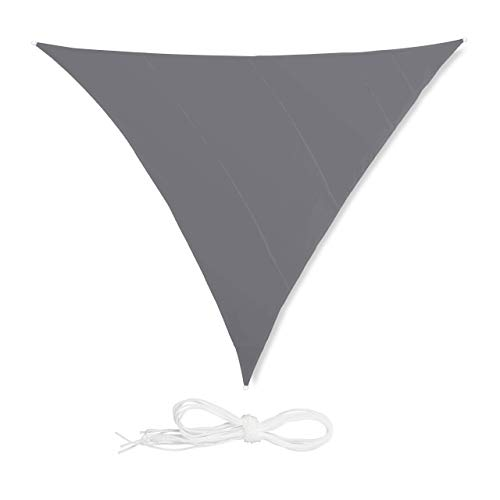 relaxdays Voile d'ombrage Triangle diffuseur d'Ombre Protection Soleil Balcon Jardin UV 6x6x6 m Toile imperméable, Gris