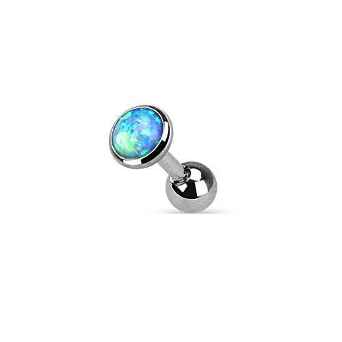 Coolbodyart Femmes Hommes Piercing Tragus Haltère Cartilage en acier inox , Acier chirurgical 316 L en argent avec Opale en bleu, blanc, mauve différentes tailles - aussi im Kit économique