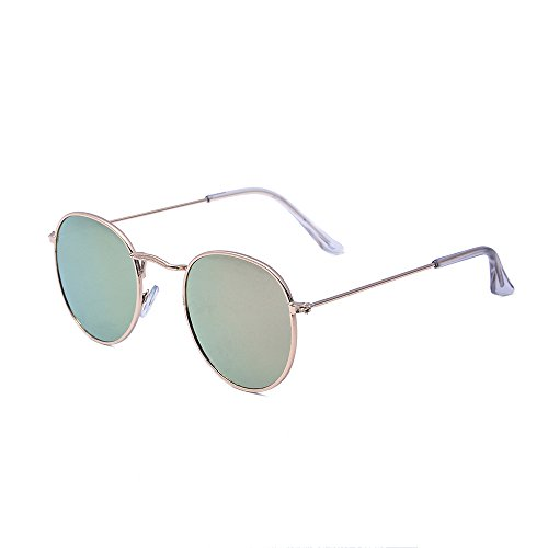 Classic Metal Frame Round Circle Mirrored Sunglasses UV Eye Protection for Unisex Sunglasses (Gold, Pink)