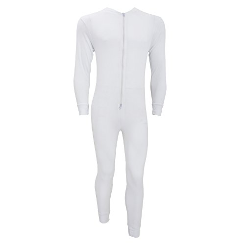 Floso Mens Thermal Underwear All In One Union Suit With Rear Flap (Standard Range) (Chest: 32-34 inch (Small)) (White) by Floso