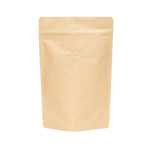 AwePackage High Barrier Natural Kraft Paper Stand up Zipper Coffee Pouch Bag with Valve (25, 12 OZ)