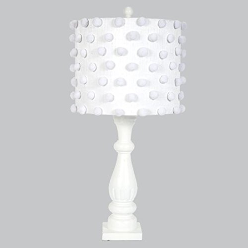 Jubilee Collection L71890W-4661 Shabby Chic Lamp Base with Pom Pom Drum Shade, White