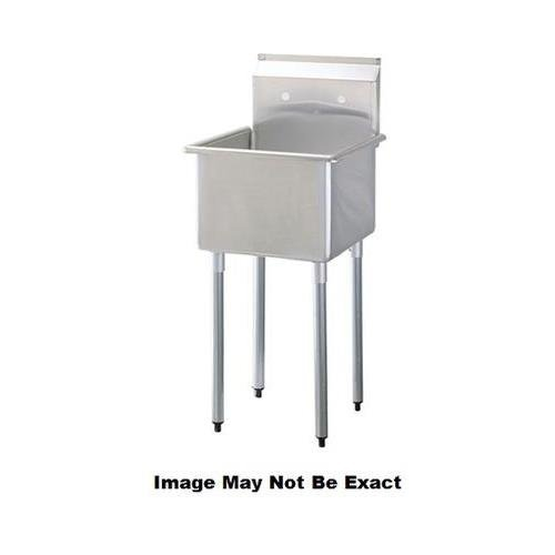 TSA-1MOP 21'''' Wide One Compartment Sink with Swirl Away Bowl Drainage and Adjustable ABS Bullet Feet in Stainless Steel