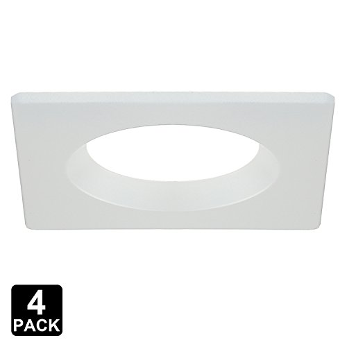 (TORCHSTAR 4 Pack 4-Inch Interchangeable Trim Ring, Recessed Light Fixture Trim for TorchStar Recessed Downlight (ASIN: B01M1HXFS6; B01M167D0R), White, Square)