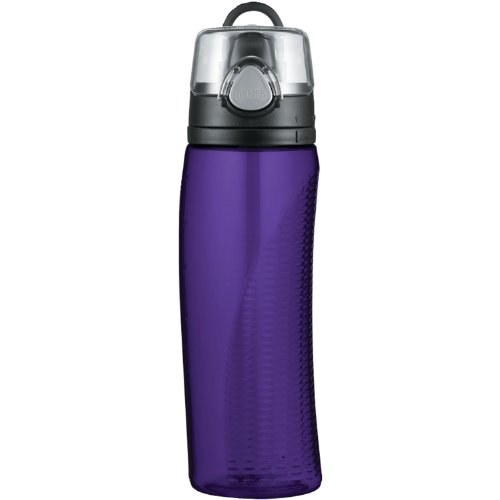 One Handed Water Bottle - Thermos Intak 24 Ounce Hydration Bottle with Meter, Purple