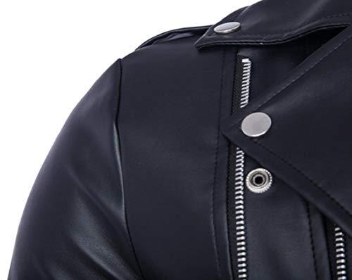 Causal Leather Gocgt Black Zipper Jacket Men's Slim Coat Belted Design PU Biker tCrxqZC0w