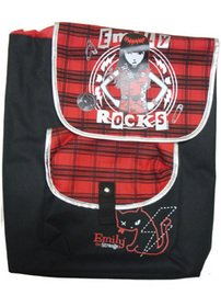 FAB Starpoint Girls 2-6X Emily The Strange Rocks Rucksack 16 Inch Backpack, Black/Red, One Size, Bags Central