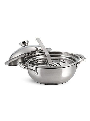 Tramontina Limited Editions Rotonda Tri-Ply Base Stainless Steel 3pc Covered Risotto/Multi-Use Pan set, 4-Quart, Impact-bonded, PTFE-PFOA- Cadmium Free, Dishwasher & Oven-Safe by Tramontina