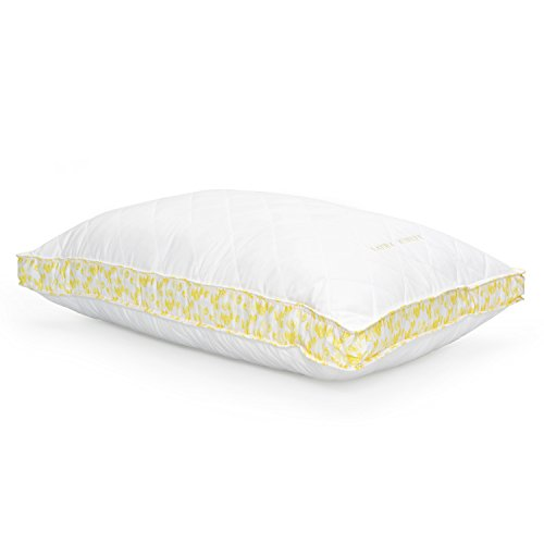 (Laura Ashley Luxury Medium Density Ava Quilted Bed Pillow - Yellow Tulip Print Gusset - Hypoallergenic Polyester Microfiber - Sold Individually (King))