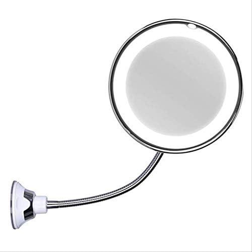 ZMHZJ ライト付き洗面化粧台はライトアジャスタブルグースネックサクションカップと化粧鏡を壁掛け用高輝度LEDパーフェクトを持って拡大します