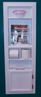 (MPU-2) Recessed Solid Wood Bathroom In the Wall Magazine Rack, Trash Can, Toilet Paper Holder, Tissue Kleenex Dispenser Multipurpose Unit, Enamel Finish, Holds Spare Roll Also, Uses Standard Small Garbage Bags by WG WOOD GROUP